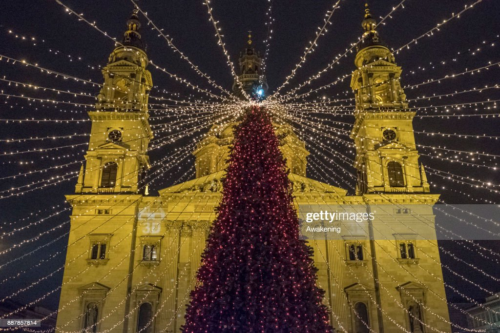 A general view of Saint Stephen Basilica decorated for Christmas on December 7, 2017 in Budapest, Hungary. The traditional Christmas market and lights will stay until 31st December 2017.