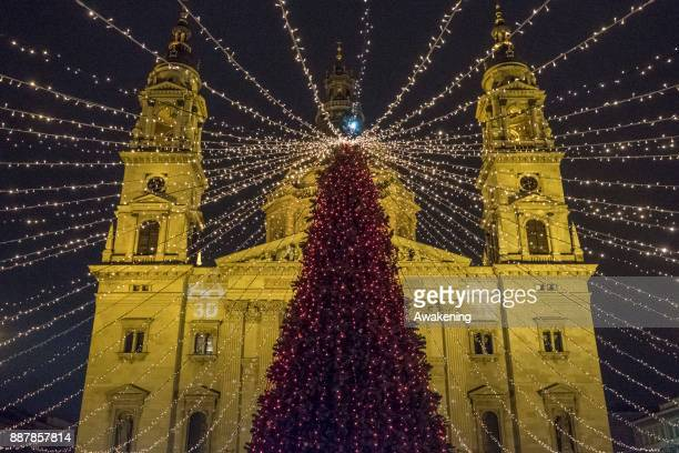 A general view of Saint Stephen Basilica decorated for Christmas on December 7 2017 in Budapest Hungary The traditional Christmas market and lights...