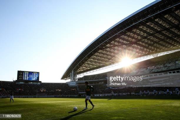 General view of Saitama Stadium and Asakura Ren of Shizuoka Gakuen during the 98th All Japan High School Soccer Tournament final match between Aomori...