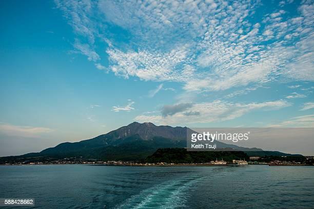 General view of Sakurajima is seen on August 9 2016 in Kagoshima Japan Mt Sakurajima an active volcano which just had an explosive eruption spewing...