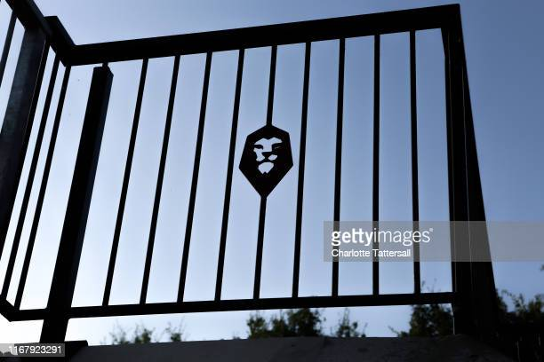 General View of Salford City logo on a railing at Moor Lane home of Salford City prior to the Carabao Cup First Round match between Salford City and...