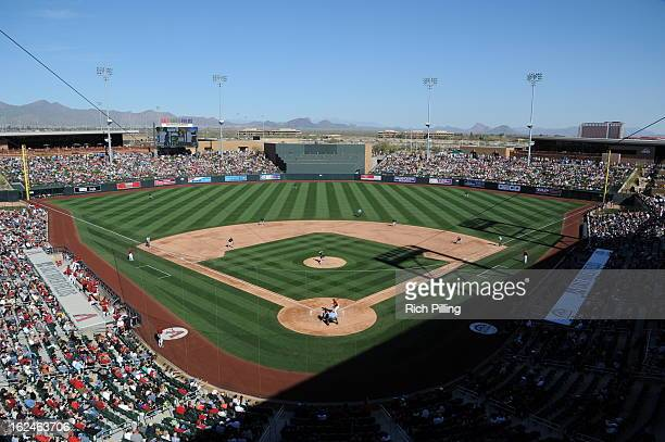 A general view of Salt River Fields at Talking Stick during the game between the Arizona Diamondbacks and Colorado Rockies on February 23 2013 at the...
