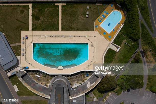 General view of Saltdean Lido on May 14, 2020 in London, United Kingdom. As temperatures rise across Britain, its large public pools remained closed...