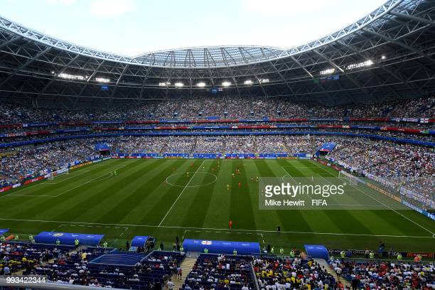 General view of Samara Arena during the 2018 FIFA World Cup Russia Quarter Final match between Sweden and England at Samara Arena on July 7 2018 in...