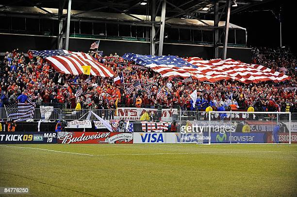 General view of Sam's Army rooting section during the USA game against Mexico during a FIFA 2010 World Cup qualifying match in the CONCACAF region on...