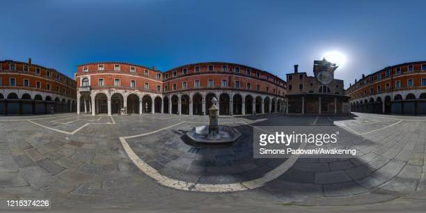 General view of San Giacometto square where there is the oldest church of the city, next to Rialto bridge as lockdown continues due to the...