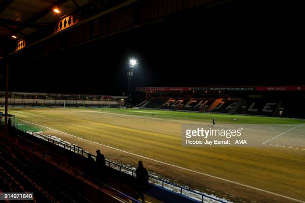 General view of sand on the pitch at Spotland home stadium of Rochdale prior to The Emirates FA Cup Fourth Round Replay at Spotland Stadium on...