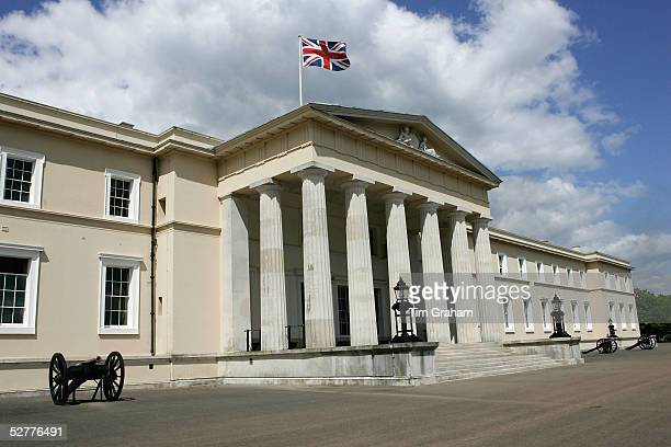 A general view of Sandhurst Royal Military Academy which is flying a Union Jack flag where Prince Harry begins his army officer training on May 8...