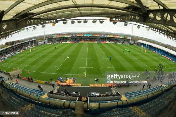 A general view of Sandy Park home of Exeter Chiefs during the Aviva Premiership match between Exeter Chiefs and Harlequins at Sandy Park on November...