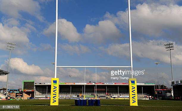 General view of Sandy Park prior to kick off during the Aviva Premiership match between Exeter Chiefs and Bath Rugby at Sandy Park on February 28...