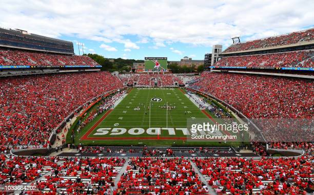 A general view of Sanford Stadium during the game between the Georgia Bulldogs and the Middle Tennessee Blue Raiders on September 15 2018 in Athens...
