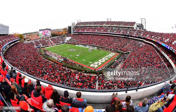 General view of Sanford Stadium during the game between the Georgia Bulldogs and the Georgia Tech Yellow Jackets on November 24, 2018 in Athens,...