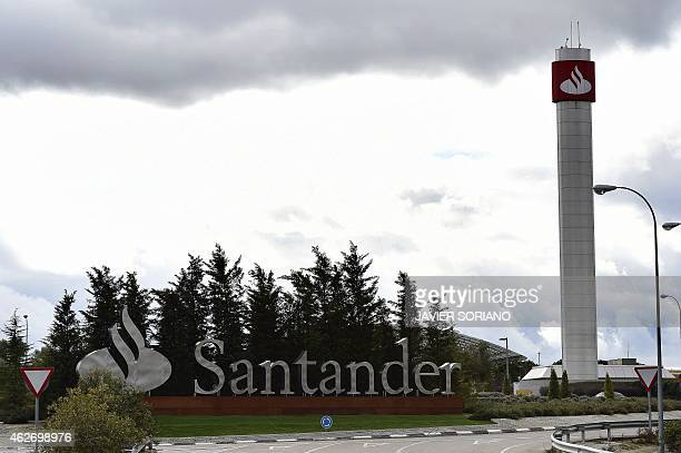 General view of Santander Bank's financial city entrance in Madrid on February 3 2015 in Madrid The eurozone's biggest bank Santander of Spain said...