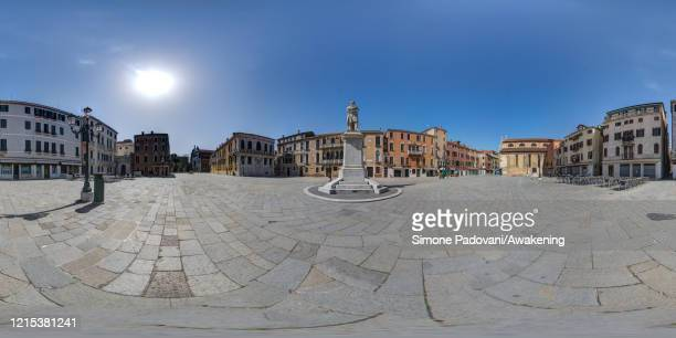General view of Santo Stefano square, whit the statue of Niccolò Tommaseo as lockdown continues due to the coronavirus outbreak on March 28, 2020 in...