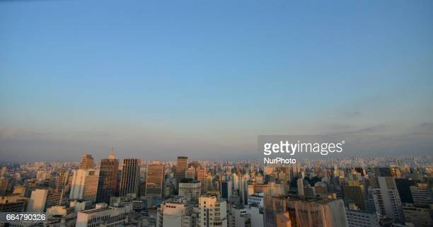A general view of Sao Paulo on April 4 2017 Pollution rates in São Paulo are twice as high as the ceiling established by the World Health...