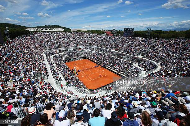 A general view of Sara Errani of Italy in her match against Jelena Jankovic of Serbia during day seven of the Internazionali BNL d'Italia tennis 2014...