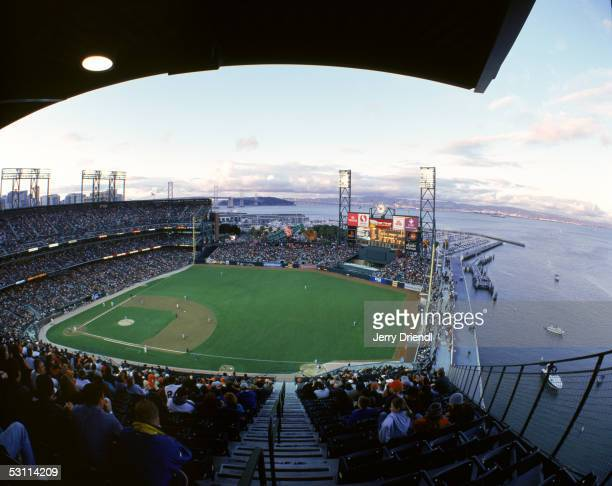General view of SBC Park from the right field upper level with the San Francisco bay in the background during a game between the Washington Nationals...