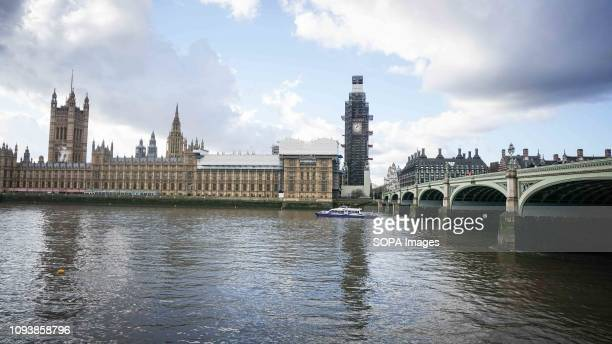 A general view of scaffolding surrounds of the Elizabeth Tower and the Houses of Parliament in Westminster British Prime Minister Theresa May starts...