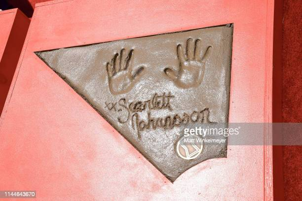 General view of Scarlett Johansson's handprint at the Marvel Studios' 'Avengers: Endgame' Cast Place Their Hand Prints In Cement At TCL Chinese...