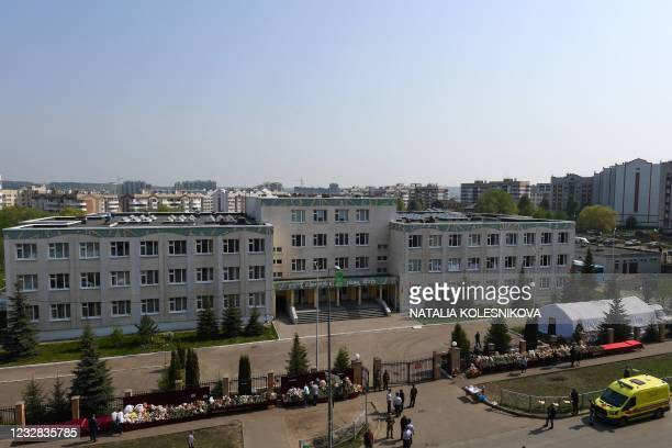 General view of School No. 175 the morning after the shooting in Kazan on May 12, 2021. - At least nine people, most of them children, were killed on...