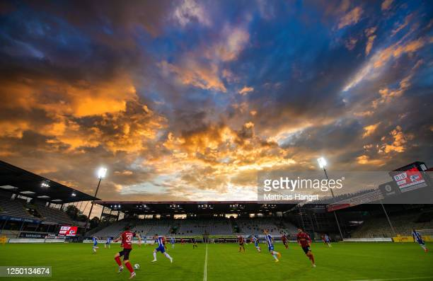 General view of Schwarzwald-Stadion during the Bundesliga match between Sport-Club Freiburg and Hertha BSC at Schwarzwald-Stadion on June 16, 2020 in...