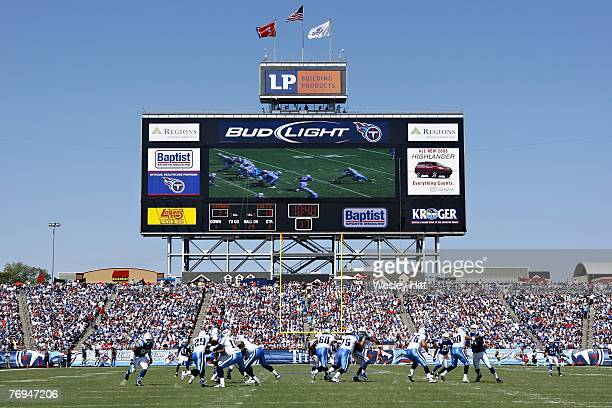 General view of scoreboard at LP Field during the game between Indianapolis Colts and the Tennessee Titans on September 16, 2007 in Nashville,...