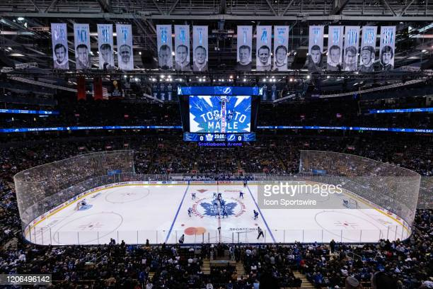General view of Scotiabank Arena as Tampa Bay Lightning Center Brayden Point and Toronto Maple Leafs Center Auston Matthews get ready for the opening...