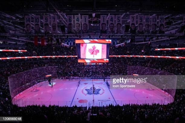 General view of Scotiabank Arena during the Canadian national anthem before the NHL regular season game between the Tampa Bay Lightning and the...