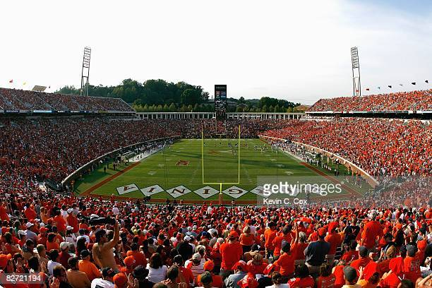 A general view of Scott Stadium taken during the game between the Virginia Cavaliers and the Southern California Trojans at Scott Stadium on August...