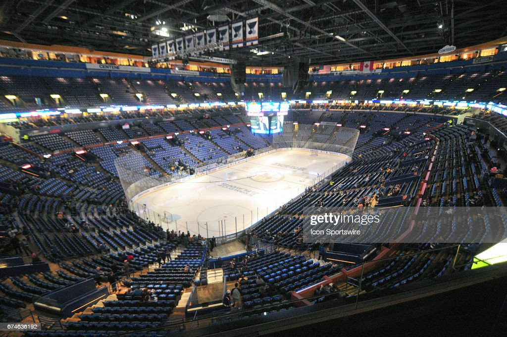 A general view of Scottrade Center before game 1 of the second round of the 2017 Stanley Cup Playoffs between the Nashville Predators and the St. Louis Blues on April 26, 2017, at Scottrade Center in St. Louis, MO. the Predators won, 4-3.