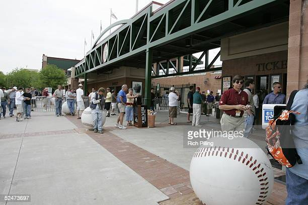 General view of Scottsdale Stadium Spring Training home of the San Francisco Giants on March 18 2005 in Scottsdale Arizona