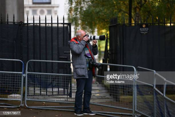 A general view of screens that have been put up at the end of Downing Street on October 20 2020 in London England Boris Johnson could impose...