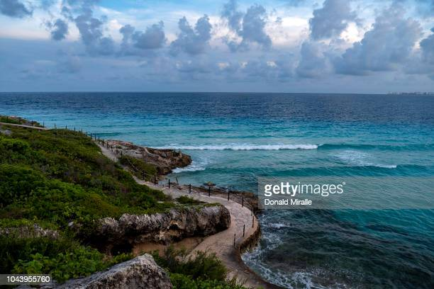 A general view of sculptures in Garrafon Reef Park in Punta Sur on September 27 2018 in Isla Mujeres Mexico Punta Sur is located at the southern tip...