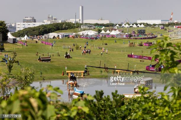 General view of Sea Forest Cross-Country Course during the Eventing Cross Country Team and Individual on day nine of the Tokyo 2020 Olympic Games on...