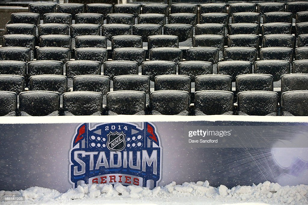 A general view of seats covered with snow after the 2014 NHL Stadium Series practice sessions and family skate at Yankee Stadium on January 25, 2014 in the Bronx borough of New York City.