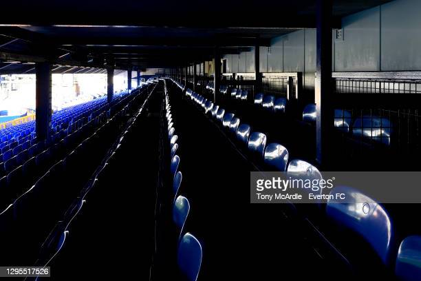 General view of seats in the Gwladys Street Stand at Goodison Park before the FA Cup Third Round match between Everton and Rotherham United at...