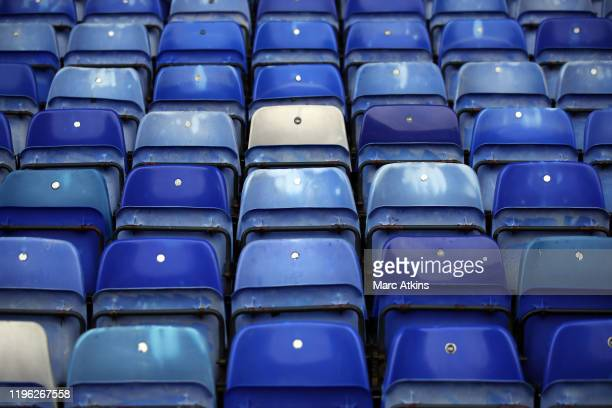 General view of seats in varying shades of blue during the FA Cup Fourth Round match between Coventry City and Birmingham City at St Andrew's...
