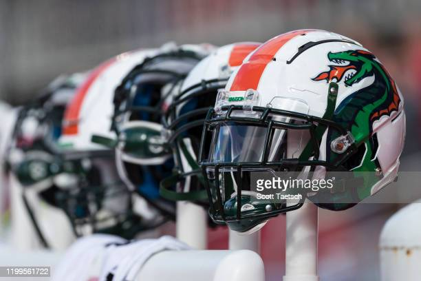 A general view of Seattle Dragons helmets on the sidelines before the XFL game against the DC Defenders at Audi Field on February 8 2020 in...