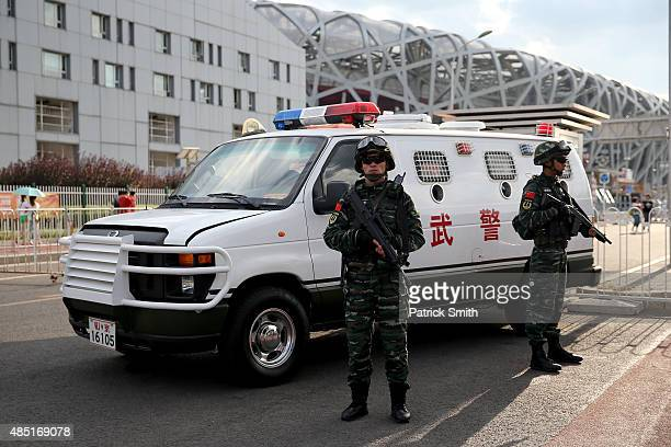 A general view of security personnel outside Beijing National Stadium during day four of the 15th IAAF World Athletics Championships Beijing 2015 at...