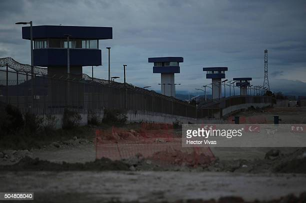 General view of security towers during a walk in the vicinity of the Mexican maximum security prison 'El Altiplano' on January 13, 2015 in Almoloya,...
