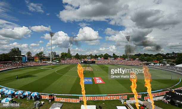 A general view of Seddon Park during the 2015 ICC Cricket World Cup match between Bangladesh and New Zealand at Seddon Park on March 13 2015 in...