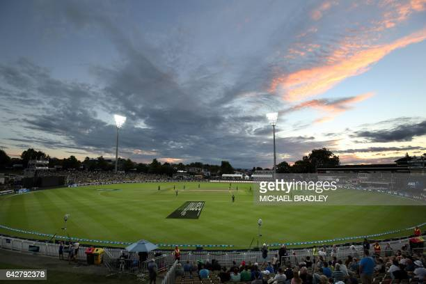 A general view of Seddon Park during the oneday international cricket match between New Zealand and South Africa in Hamilton on February 19 2017 /...