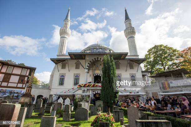 A general view of Sehitlik mosque which is mostly Turkish and the small Muslim cemetery at its court yard on Open Mosque Day on October 3 2017 in...