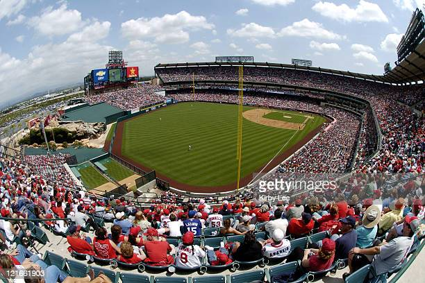 General view of sellout crowd of 43587 at Angel Stadium during game between the Los Angeles Angels of Anaheim and the Detroit Tigers in Anaheim Calif...