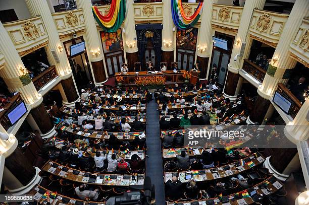 General view of Senators and Deputies during an honor session of the Legislative Assembly during the third anniversary of the Plurinational State of...