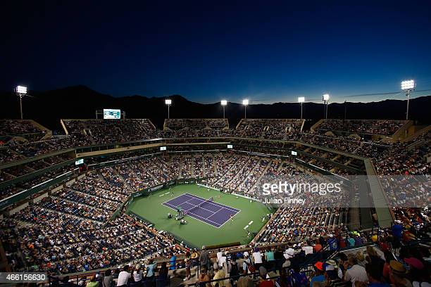 General view of Serena Williams of USA in action against Monica Niculescu of Romania during day five of the BNP Paribas Open tennis at the Indian...