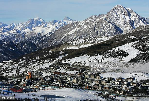 A general view of Sestriere taken during the Men's Downhill training prior to the Turin 2006 Winter Olympic Games on February 9 2006 in Sestriere...