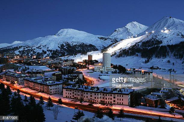 A general view of Sestriere venue for the Mens Downhill at the 2006 Winter Olympics on December 13 2004 in Sestriere Italy