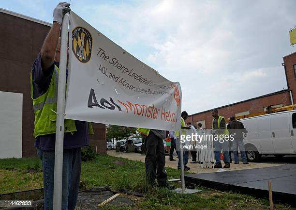 General view of setup before Baltimore Mayor Stephanie RawlingsBlake kicks off AOL's 2nd Annual Monster Help Day During A Press Conference at the...