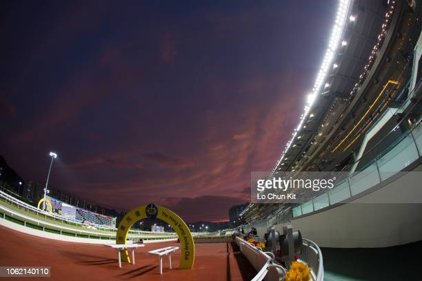 General view of Sha Tin racecourse at dusk on October 31, 2018 in Hong Kong.